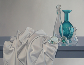 Brian Henderson painting. Glassware and tablecloth